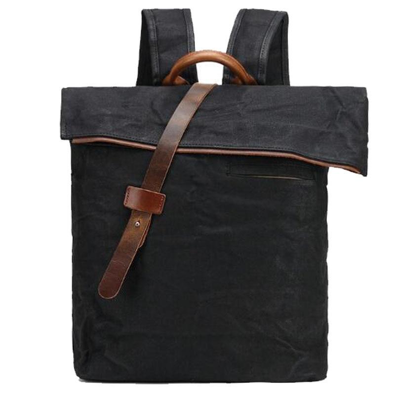 2018 Waxed Canvas Water Proof Vintage Crazy Horsehide Cow skin Mens Solid Preppy School Back Packs Shoulder Travel Backpacks