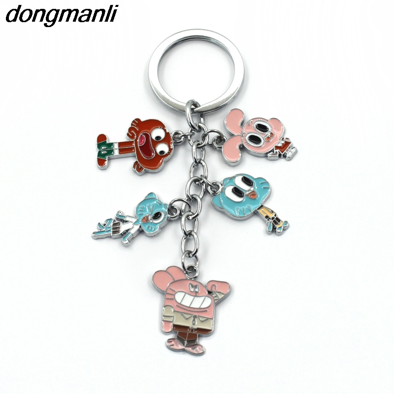 P1370 Dongmanli The Amazing World of Gumball Cosplay Animals Figures Charms car Keychain Accessories kids toys Key Ring