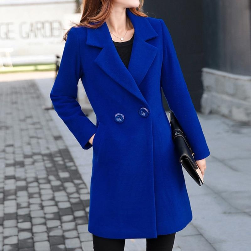 пальто женское Зимнее пальто женское тонкое шерстяное с длинным рукавом с отложным воротником Верхняя одежда Куртка повседневное осенне-з...