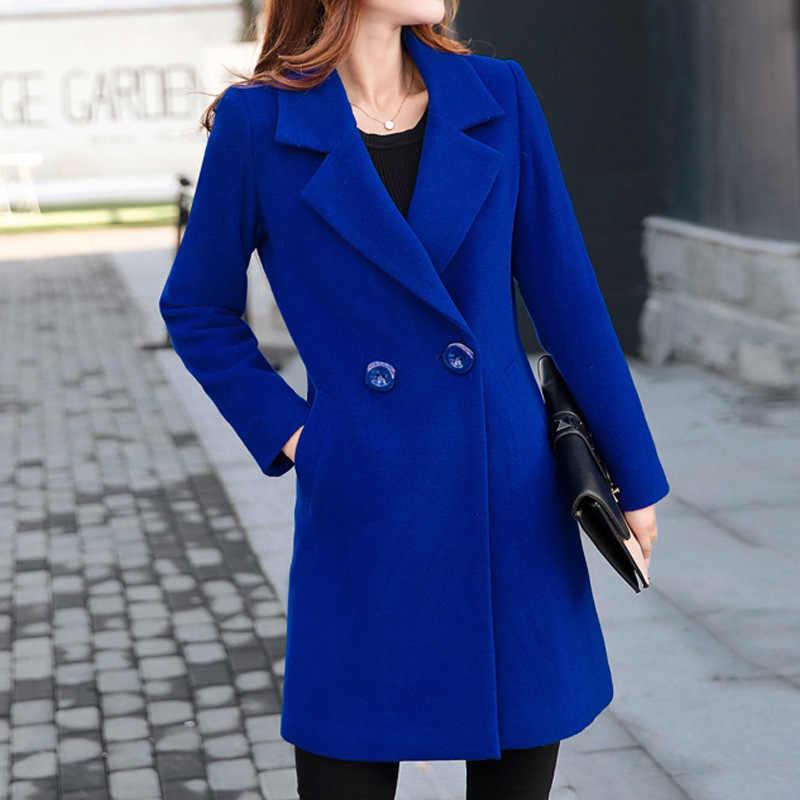 Mantel Musim Dingin Wanita Korea Wol Mantel Wanita Musim Dingin untuk Wanita Biru Merah Mantel Monteau Femme Lebih Tahan Dr Wanita Musim Gugur Musim Dingin