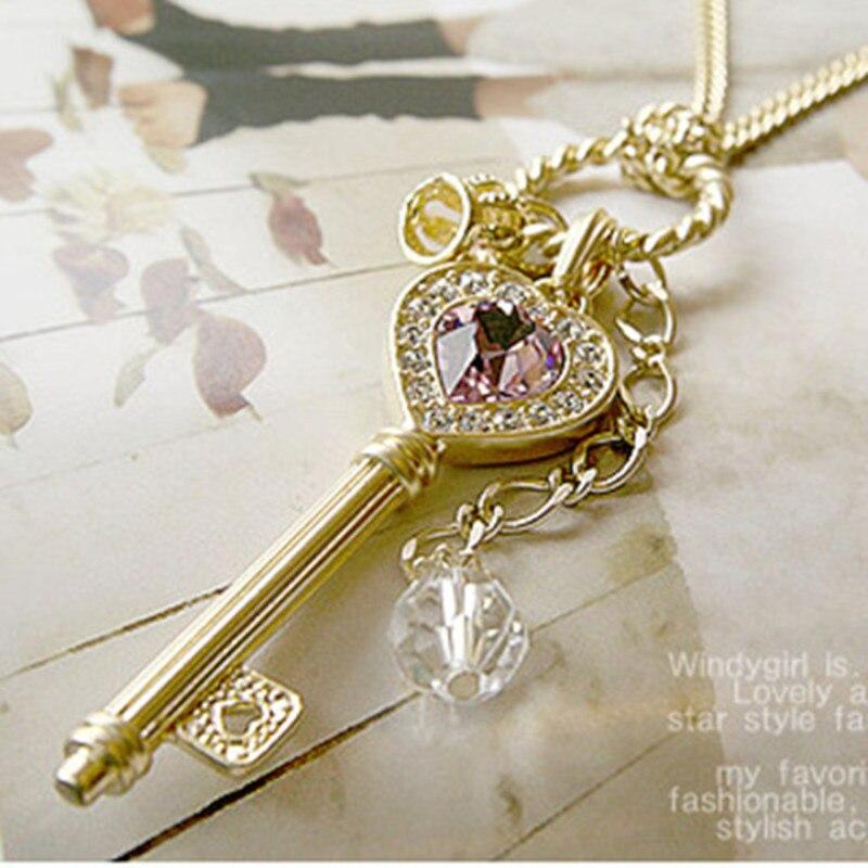 bijoux femme Cristal clé collier pendentif clé collier femmes bijoux femme cadeau jouet Figure usine vente directe bijoux