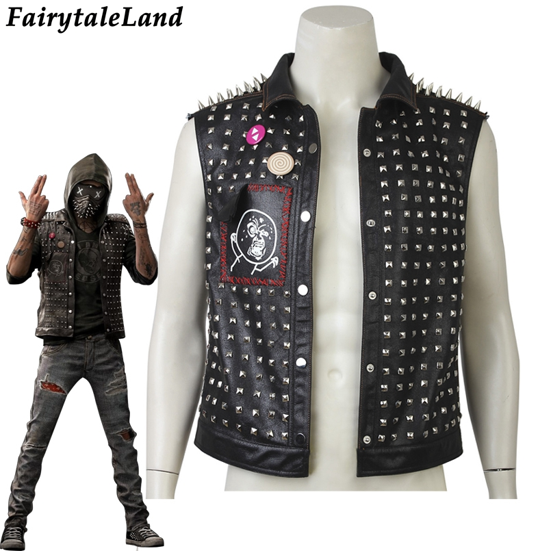 Watch Dogs 2 Wrench Vest Carnival Halloween Costumes unisex Fashion Rivets Vest Hot Game Wrench cosplay costume black Vest