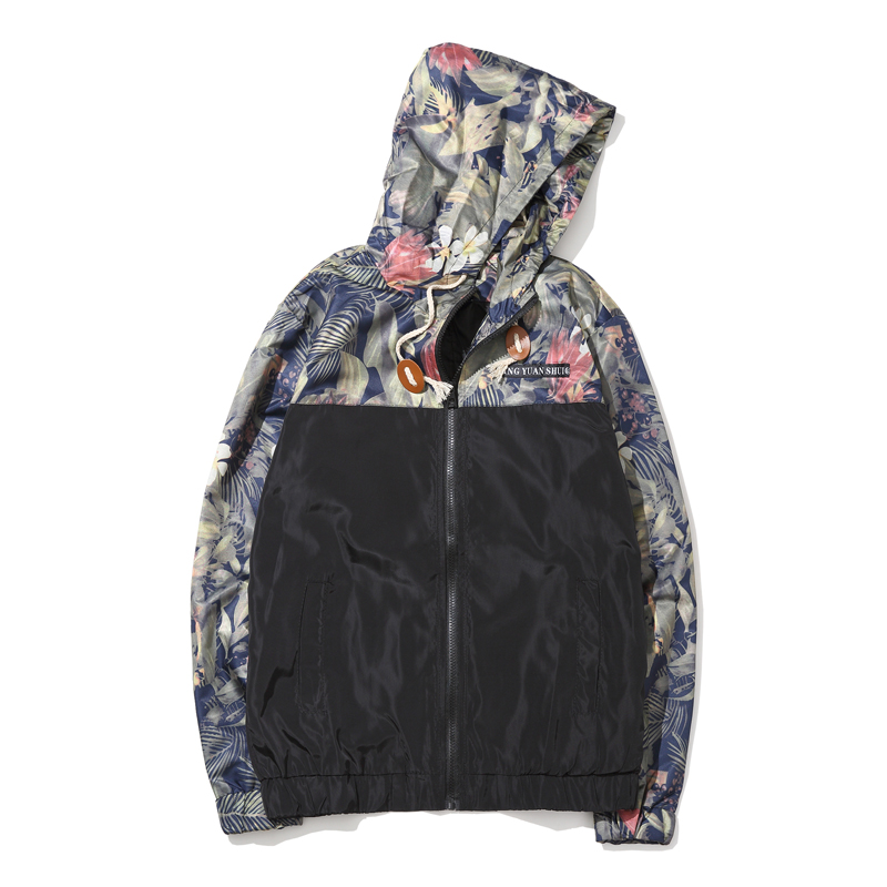 Korean Style Men Jacket Coat Floral Print Hooded
