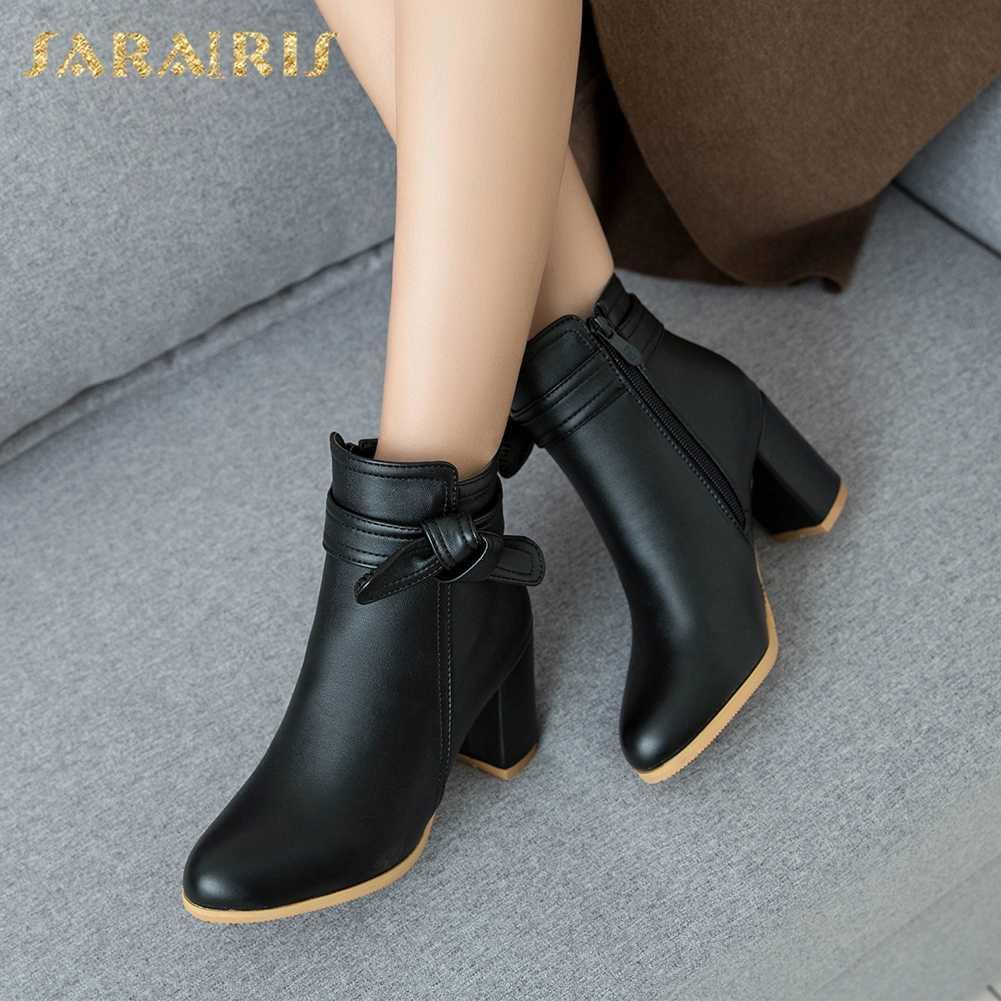 SARAIRIS toptan artı boyutu 33-52 Çizmeler Eğlence Sokak Tarzı Sonbahar Kış Kadın Çizmeler Ayak Bileği Kare Yüksek Çizmeler