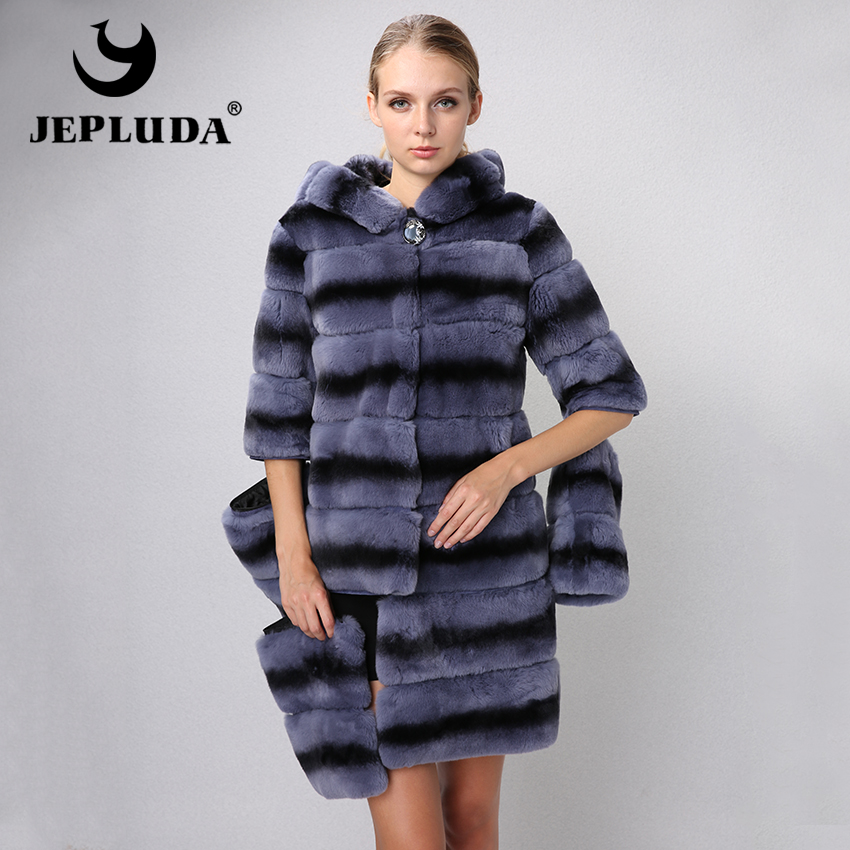 JEPLUDA New Graceful Women Natural Real Rex Rabbit Fur Coat Various Colors Sleeve Hem Detachable Real Fur Coat Winter Fur Jacket
