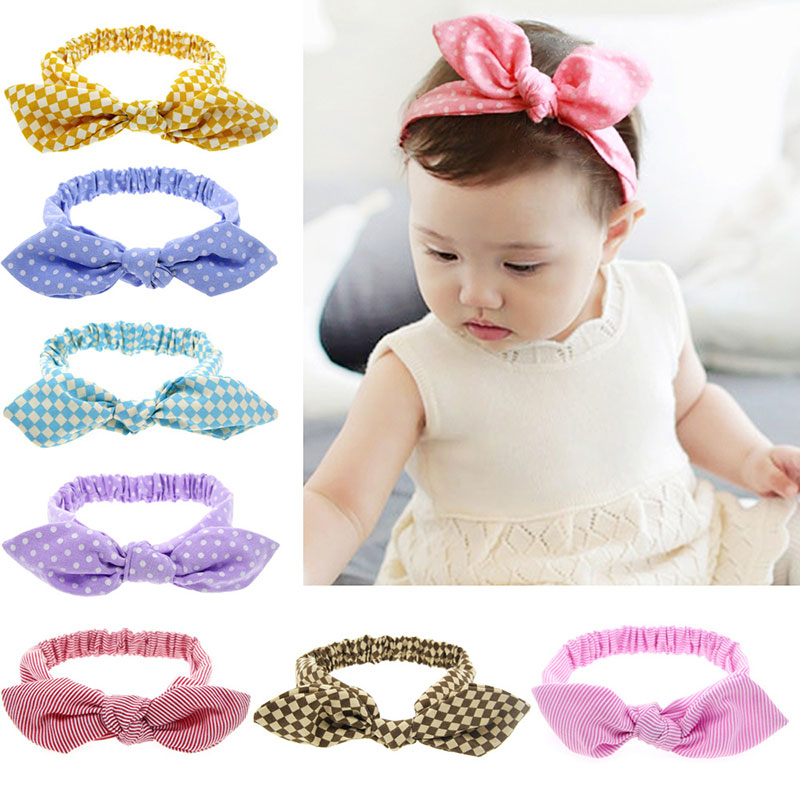 Kids Rabbit Ear Bows Turban Newborn Dots & Striped Hair Band for Girls Headbands Hair Accessories Hairbands free shipping 2013 new fashion lace big rabbit ear hairbands womens festival party props hair bands wholesale