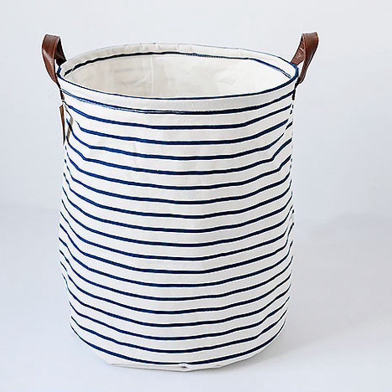 buy fabric canvas blue stripe laundry storage buckets bags foldable bathroom dirty clothes kids toy storage basket with pu handles from