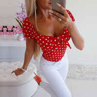 Women Short Sleeve Boho Polka Dot Loose Shirts Fashion Sexy Ladies Summer Casual Slim Blouse Tops Shirt New