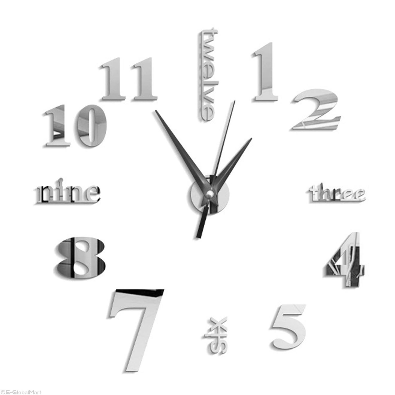 HOT SALE 3D Large Wall Clock Mirror Sticker Big Watch Sticker Home Decor Unique Gift DIY