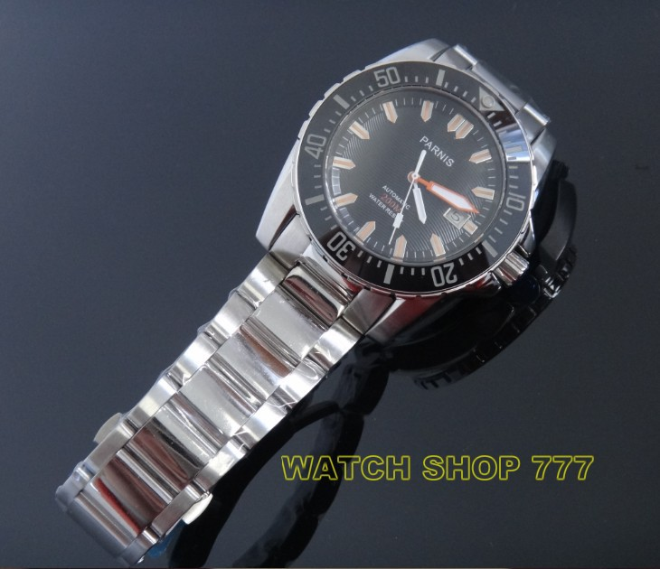 PARNIS 44mm movement steel with automatic mechanical men's watch sapphire glass l stainless steel watch Luxury watchAl