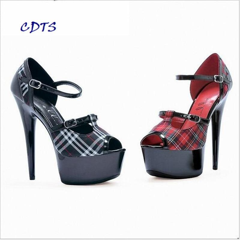 ФОТО CDTS 2016 Grid clothshoes woman spring/autumn Peep Toe zapatos mujer 15cm high heels platform Ankle Strap pumps,Big 35-45 46
