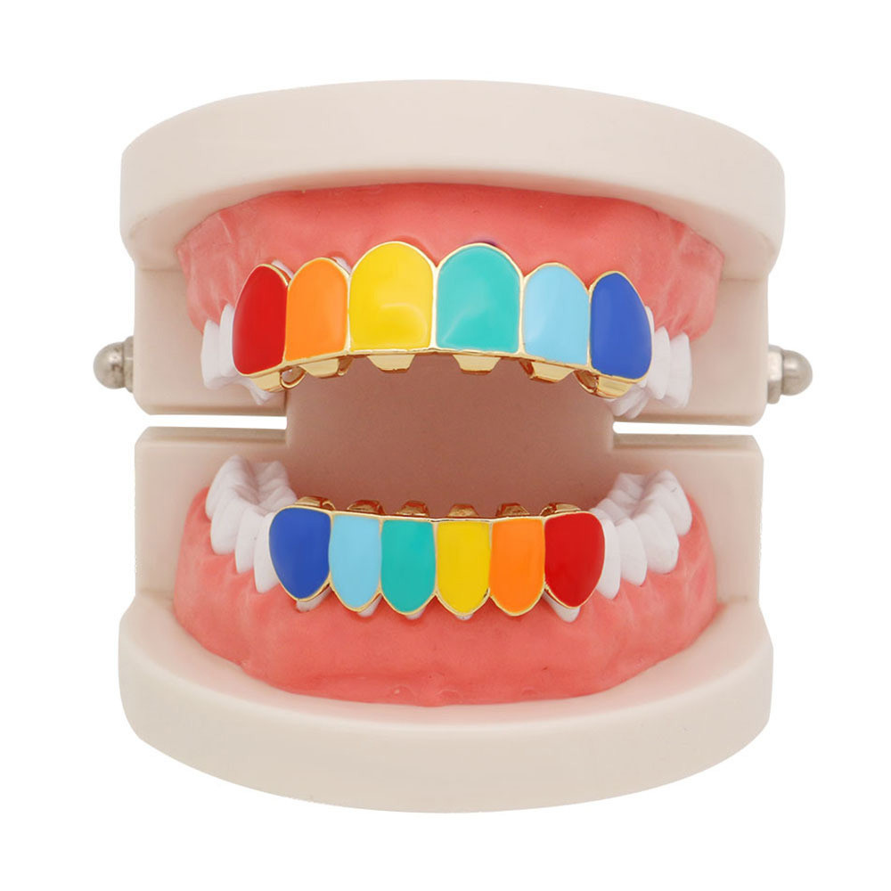 1 Pair Hip Hop Teeth Rainbow Braces Copper Hip Hop Teeth Top Bottom Tooth Grill Set Copper Tooth Cap Jewelry Colorful Teeth #40