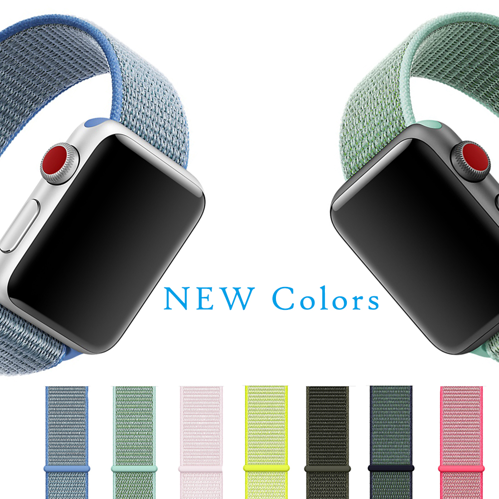 New Arrival Colors Nylon Sport Loop Replacment Band For Apple Watch Series 1 2 3 Lightweight Soft Breathable Woven Strap 38 42mm