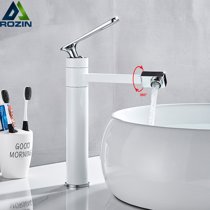 Deck Mounted Water White Spray Painting Bath Sink Faucet Bathroom Mixer Tap Crane with Aerator 360