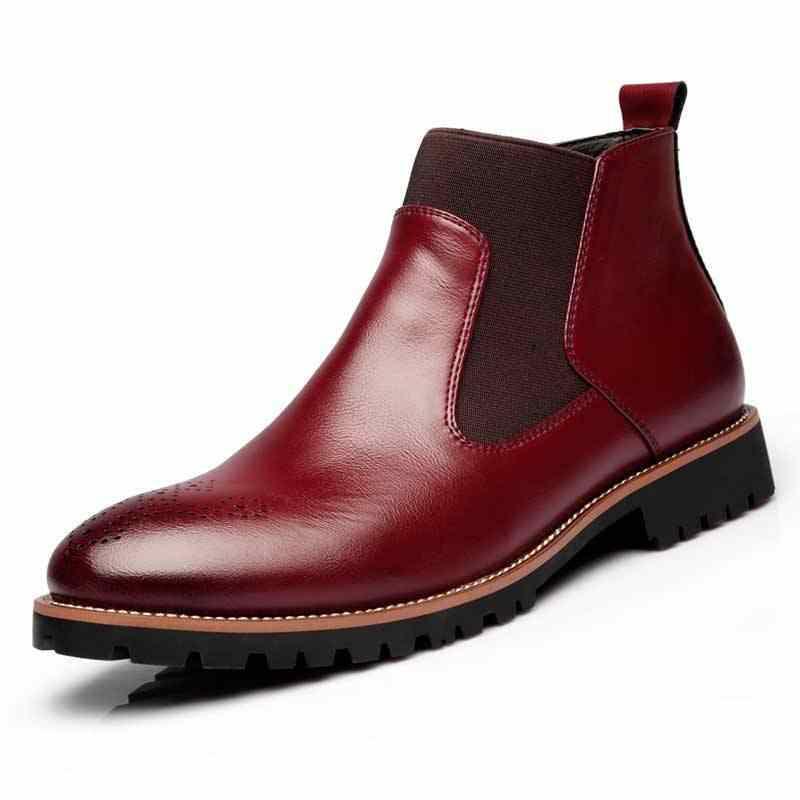 Polali Lente/Winter Bont Mannen Chelsea Laarzen Britse Stijl Mode Enkellaarsjes Zwart/Bruin/Rood Brogues Zachte lederen Casual Schoenen