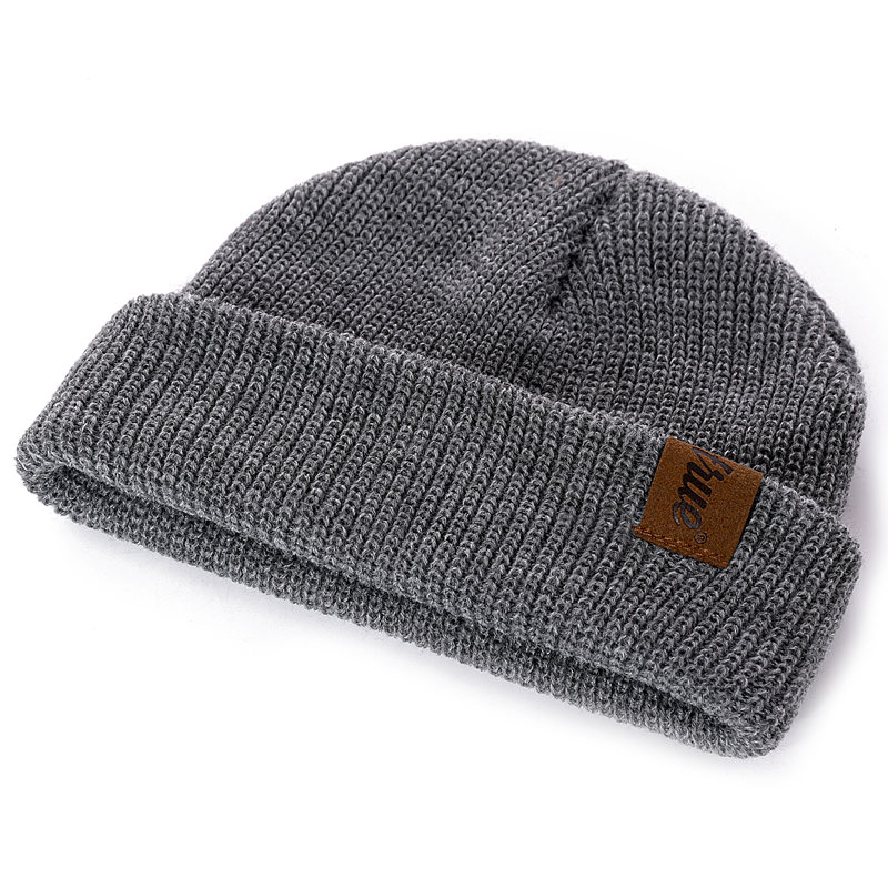 1 Pcs Hat PU Letter True Casual Beanies for Men Women Warm Knitted Winter Hat Fashion Solid Hip-hop Beanie Hat Unisex Cap 5