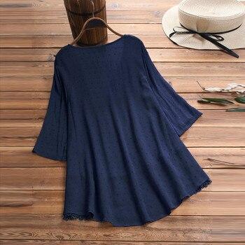 Summer Solid Blouse Plus Size S-5XL Women Vintage Jacquard Three Quarter Lace V-Neck Button Top Blouse Wholesale N4 5