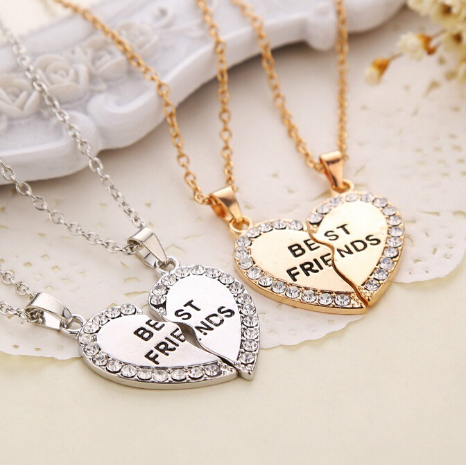 product New Fashion 2pcs/set Gold Silver Crystal Broken Heart Best Friend Necklaces Pendants For Women Jewelry whol