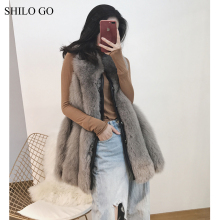 SHILO GO Fur Vest  Womens Winter Fashion whole real Fox Fur long Vest O Neck front rivet leather warm   concise loose vest