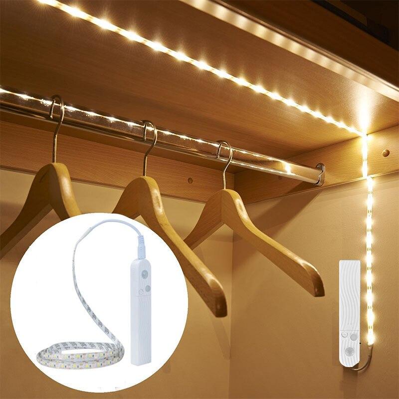 Us 199 30 Offnowość Oświetlenie Pir Bezprzewodowy Z Ruchu Oświetlenie Sensorowe Noc światła Led Taśma Usb Moc Baterii Wodoodporna Szafka Kuchnia