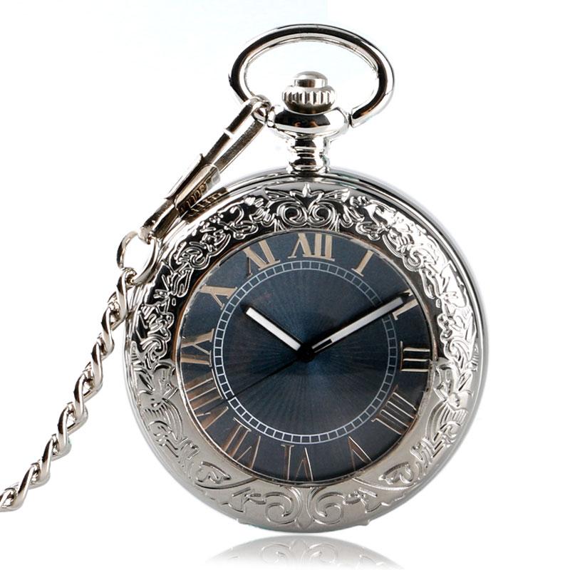 2017 Steampunk Mechanical Hand Pocket Watch Transparent Steampunk Fob Watch With Chain Men Women Gift + Bag