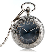 Simple Stylish Carving Steampunk Retro Gray Dial Fob Chain Women Pocket Watch Automatic Mechanical Gift Necklace Men