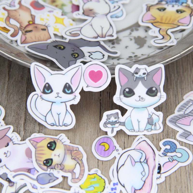 40 Pcs Mini Comic Cat Stickers For Fashion Laptop Snowboard Home Decor Car Styling Decal Fridge Doodle Kid Toy Sticker