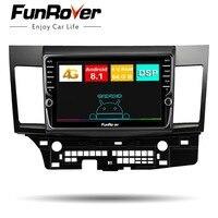 Funrover Octa 8 core android 8.1 2 din car radio multimedia stereo For Mitsubishi Lancer 2007 17 DSP car gps navigation DSP SIM