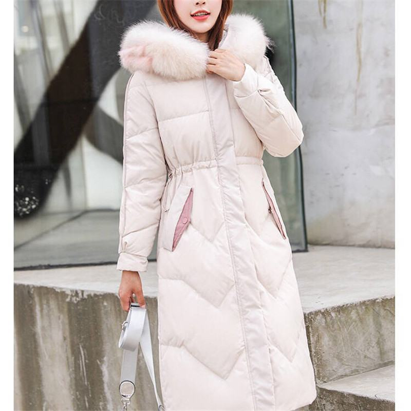 2019 Winter Women Real Fox Fur Collar Hooded White Duck Down Long Coat Female Puffer Thick Warm Down Jacket Chaqueta Mujer M04