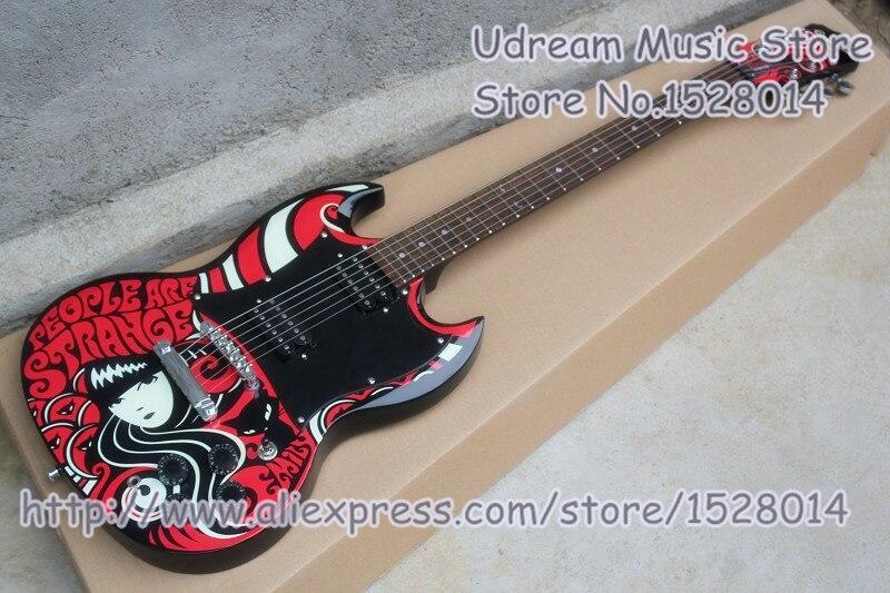 High Quality Emily The Strange SG 400 Electric Guitars Mahogany Body & Kit Custom Available цена