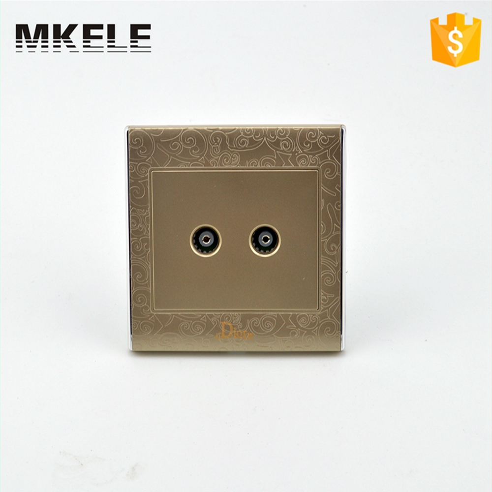 Home Decorative 2 TV Socket Wall Switch OEM Two Gang Jack Light Switches Electrical Low Price High Quality MK-WS05021 scinder switched socket package 15 steel frame two or three five hole electrical outlet wall switch panel switch