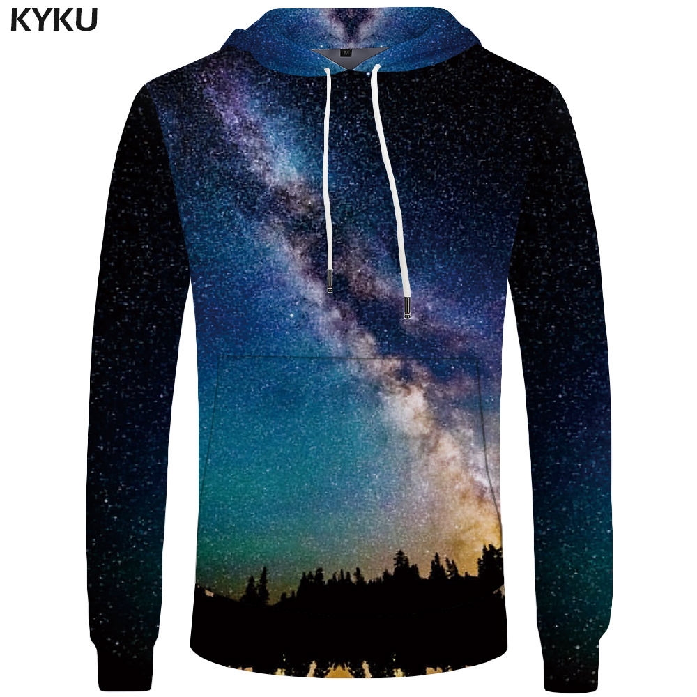 KYKU Brand Galaxy Hoodies Men Funny Sweatshirt Harajuku Pocket 3D Hoddie Sweatshirts Mens Clothing 3d Hoodies Cool Hip Hop