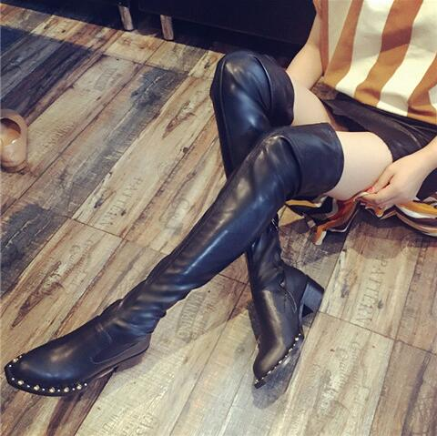 Black Stretch Fabric Thigh High Boots Pointed toe Rivets Studded Riding Boots Thick Heels Over the Knee Boots For Women
