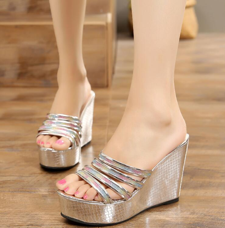 Bling Bling Wedges 2018 Summer Sandals Sequined Cloth Glitter Platform Slides Party Wedding Shoes Woman
