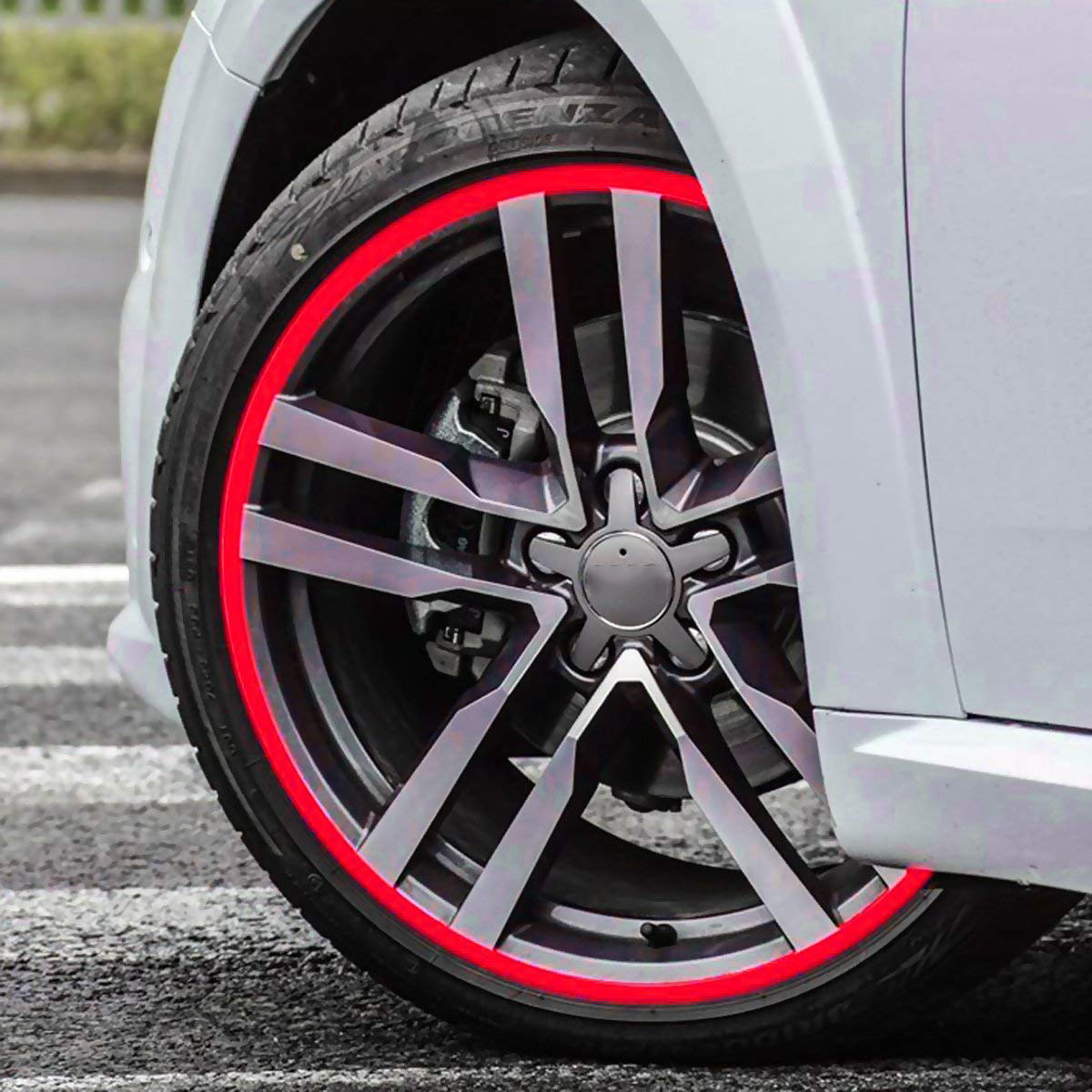 Image 2 - Free Shipping 16 Strips Car Styling Motorcycle Automobiles Wheel Tire Sticker On Car Rim Tape Car Sticker Parking Accessories-in Car Stickers from Automobiles & Motorcycles