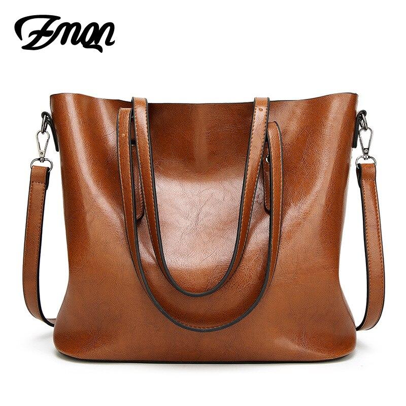 ZMQN Women Tote Bag For Women Handbags Oil Wax Leather Retro Vintage Style High Grade Crossbody Bags Handbags Famous Brand B814