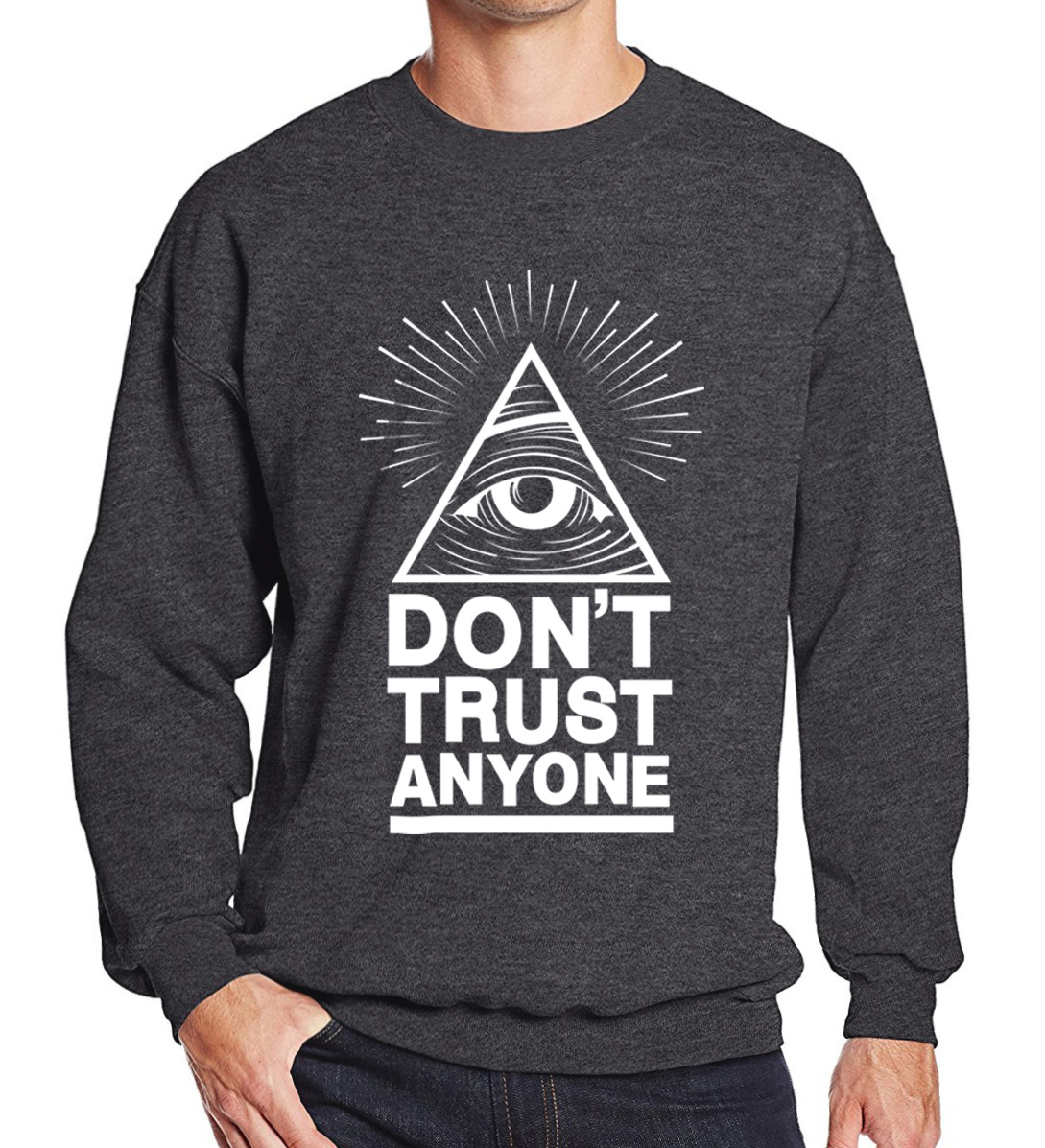 2017 hoodies männer sweatshirt frühling winter Nicht Vertrauen Alle Illuminati All Seeing Eye gedruckt mode kühlen männer sportwear kpop