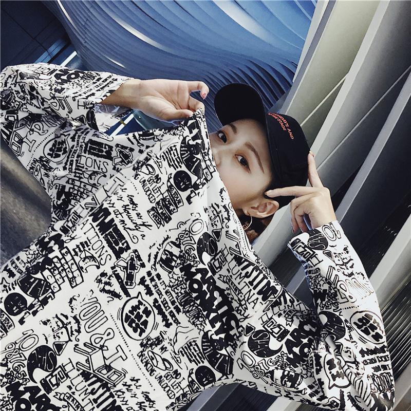 Women's Clothing Autumn Korean ulzzang Tops Casual loose hipster letter Print harajuku Tees BF O-neck long sleeve New T-Shirts 9