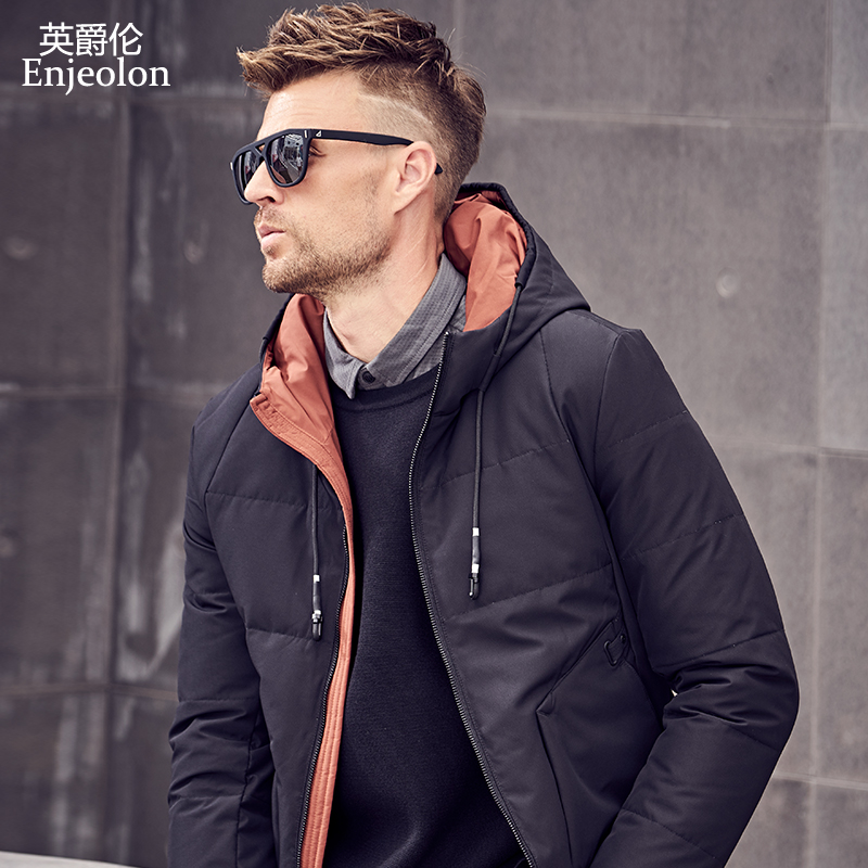 Enjeolon brand winter thick winter hoodies down jacket men solid hooded parka coat male warm parka coat 3XL down parka YR2703-in Down Jackets from Men's Clothing    1