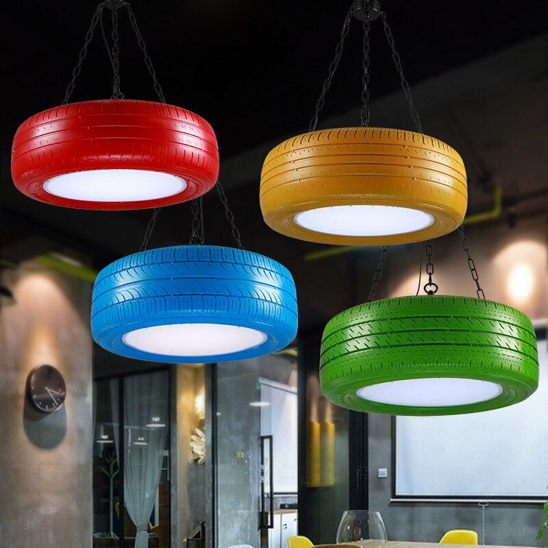 Lámpara colgante de neumático Retro industrial, luces de goma para cafetería restaurante Bar personalidad rojo verde azul amarillo lámparas ZA - 2