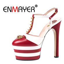 ENMAYER Gothic Woman High Heels Sandaler Sommar Höga Mode Skor Kvinnor Öppna Toe Spänne Rem Platform Skor Spänne Rem CR32