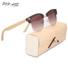 f7cfffe146 Pop Age Retro Wooden Sunglasses Male Half Plastic Metal Spectacle Gradient  Color Lens