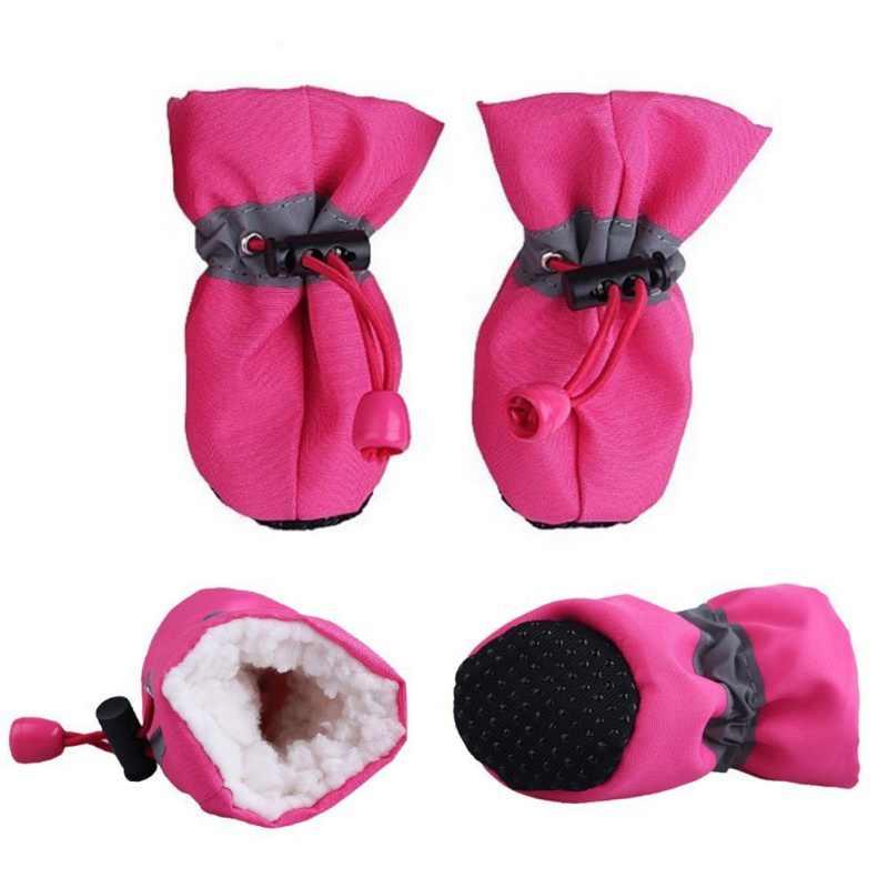 4 sztuk pies miękkie buty z podeszwami wodoodporne buty dla psów antypoślizgowe deszcz śnieg buty obuwie grube ciepłe skarpetki dla zwierząt dla mały kot botki