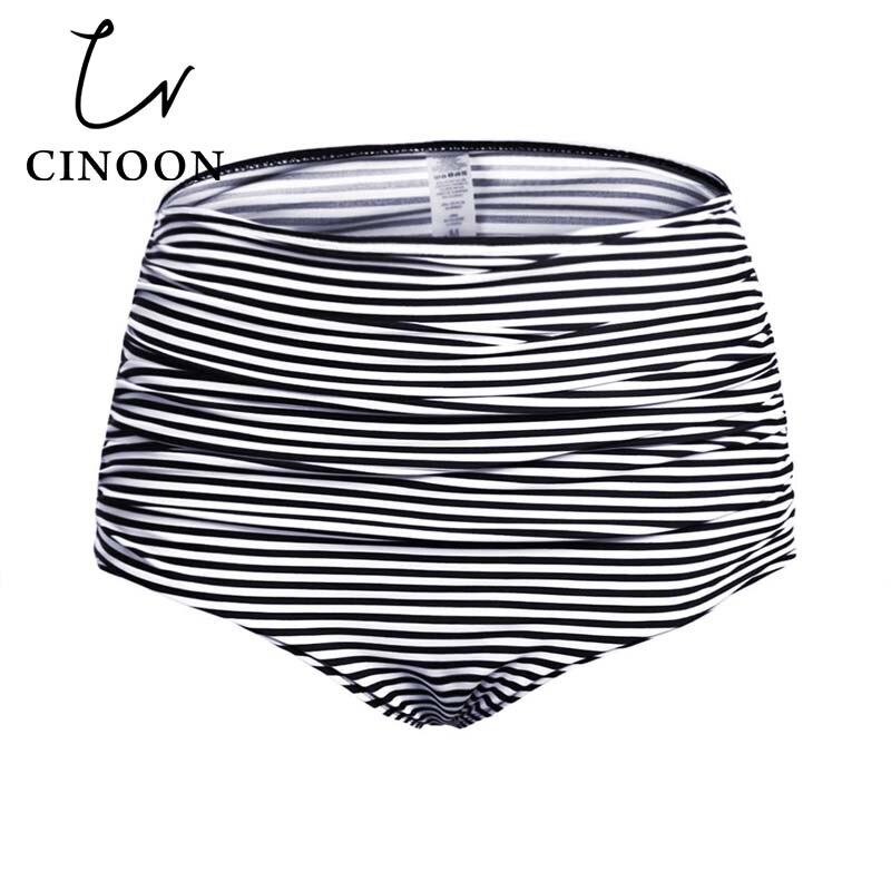 2018 Plus Size Women's High Waisted Swim Bottom Ruched Bikini Tankini Swimsuit Briefs Underwear Thong Bathing Suit monokini