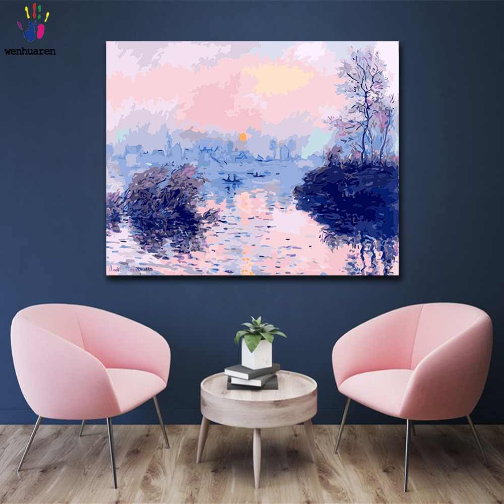 DIY colorings pictures by numbers with colors Sunset on the Monesena River picture drawing painting by numbers framed Home