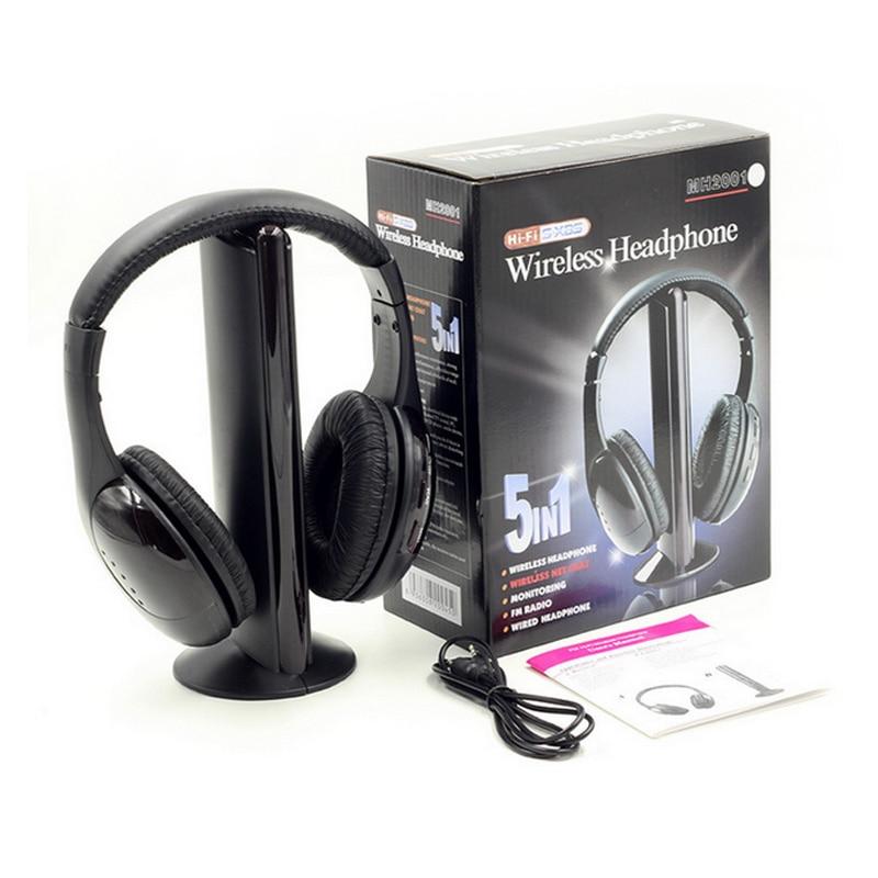 bilder für 5 in 1 Wireless Schnurlose RF Kopfhörer Headset Mit Mikrofon Für PC TV DVD CD MP3 MP4 HiFi Monitor Game Headset FM Radio Schwarz