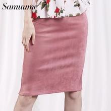 Samuume Sexy Multi Color Suede Midi Pencil Skirt Women 2017 Fashion Elastic High Waist Office Lady Bodycon Skirts Saias A1609022