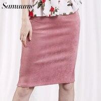 Samuume Sexy Multi Color Suede Solid Midi Pencil Skirt Women 2016 High Waist Back Split Office
