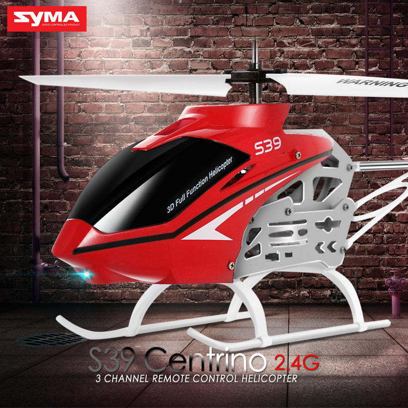SYMA Official S39 2.4GHz 3CH RC Helicopter with Gyro Led Flashing Aluminum Anti-Shock Remote Control Toy Kids Gift Red/White syma 3 5ch s108g snake military infrared control rc helicopter with gyro model toys wholesale lowest price free shipping