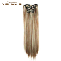 I S A Wig 16 Clips In Hair Extension Long Straight 22 140g Synthetic False Hairpieces